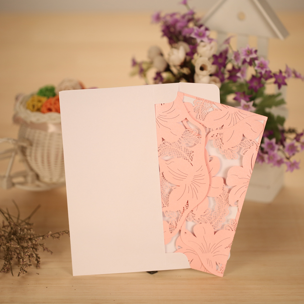 10pcs Laser Cut Wedding Invitation Cards Set Envelope Inner Sheet Delicate Wedding Card Carved Flower for Bridal BirthdayParty 1 design laser cut white elegant pattern west cowboy style vintage wedding invitations card kit blank paper printing invitation