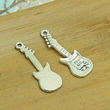 100 шт./лот A1465 античное серебро в форме гитары Подвеска из сплава кулон подходят для изготовления украшений 10x30 мм