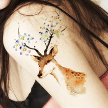 2pcs Temporary Tattoos Waterproof Tattoo Stickers Body Art Painting For Fashion Women Party Decoration Cute Sika Deer Fake Tatoo