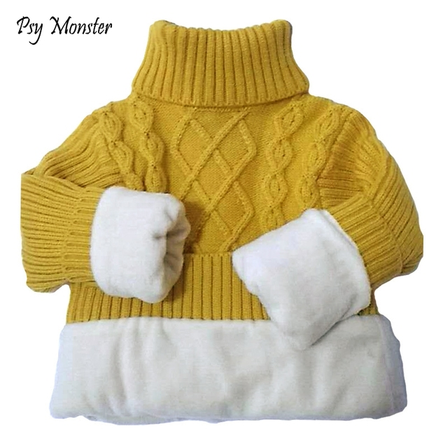 33d01c590 2T 14T Winter Boy Girl Kid Thick Knitted Turtleneck Shirts High ...