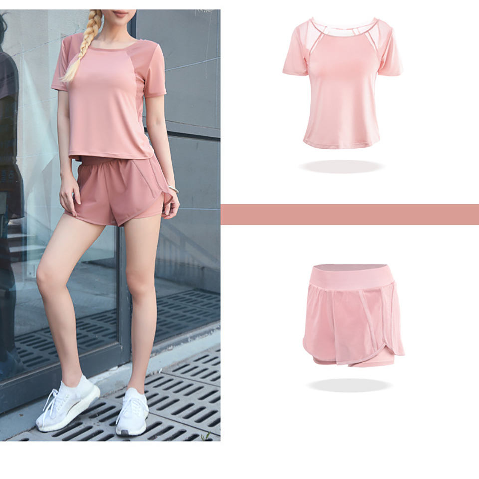 Women's Mesh Yoga Sets Running Tracksuit Fitness Clothing Sportswear Short Sleeve Tops Gym Shorts Breathable Quick Dry Clothes 9