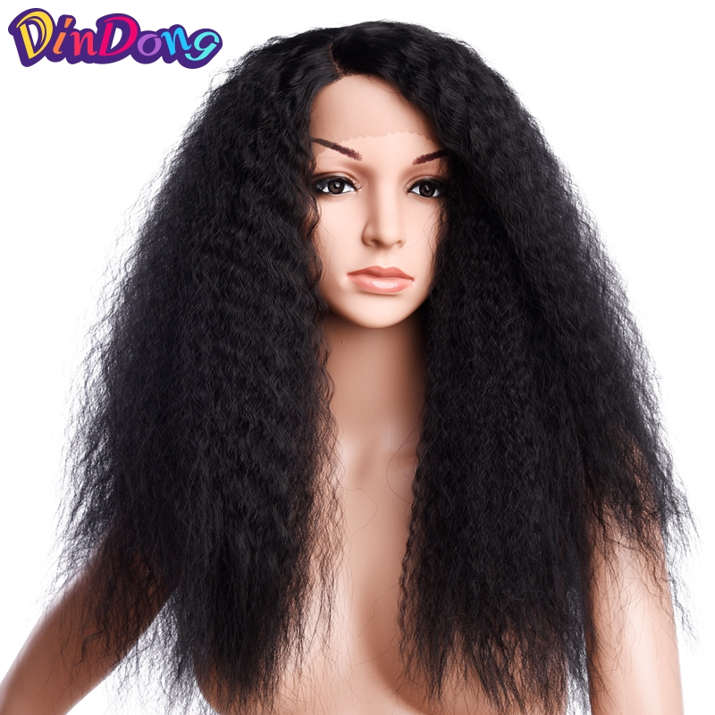 DinDong crépus bouclés Kanekalon naturel délié résistant à la chaleur cheveux 24 pouces naturel noir synthétique dentelle avant perruques pour les femmes