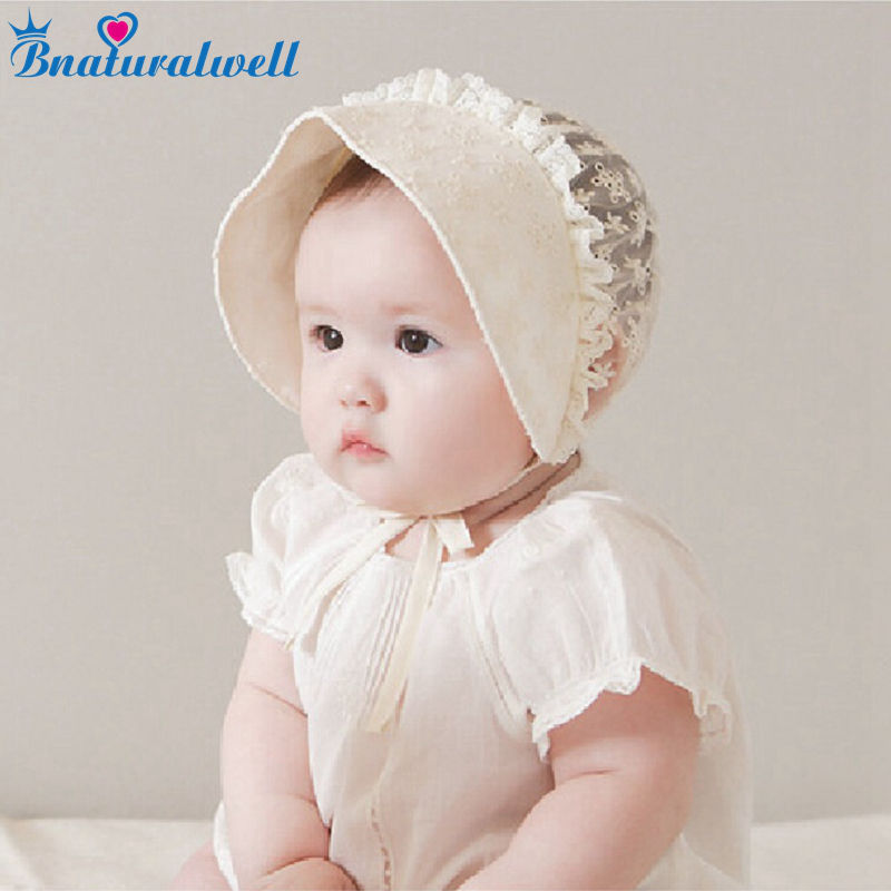 Bnaturalwell Bonnet With Lace Baby Girls Nordic Vintage Pattern Toddler  Bonnet Retro Kids Christening Baptism Cap H830-in Hats   Caps from Mother    Kids on ... 96df054b50d