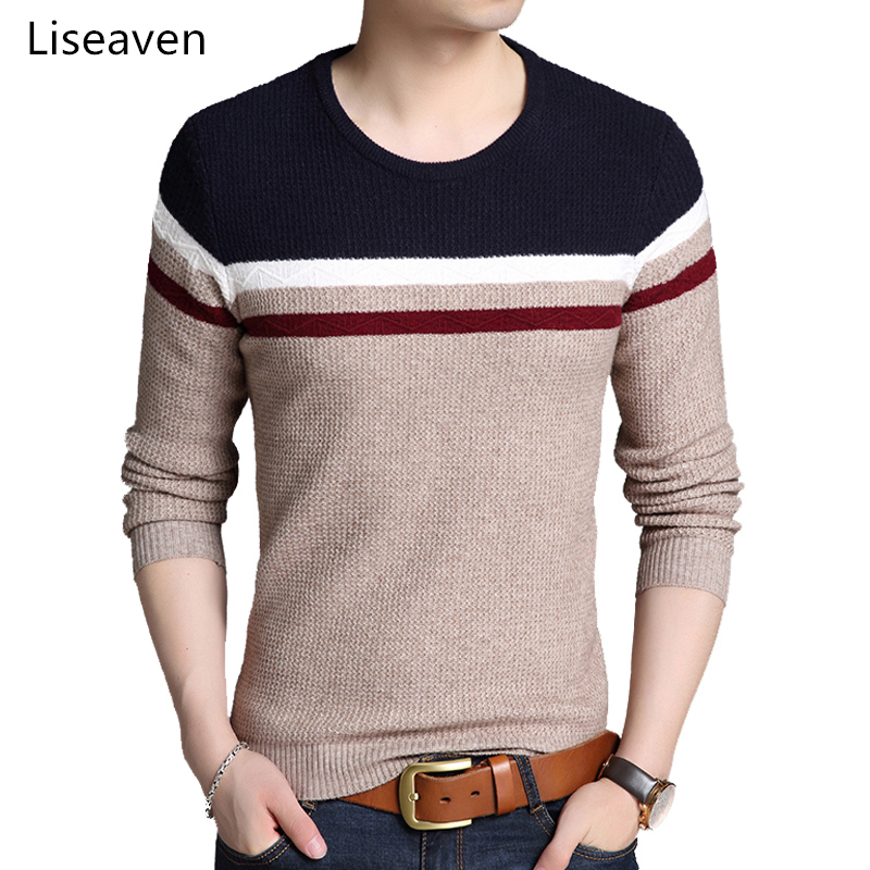 Liseaven Men Pullover Sweater Winter Warm Long Sleeve Pullovers Men's Clothing