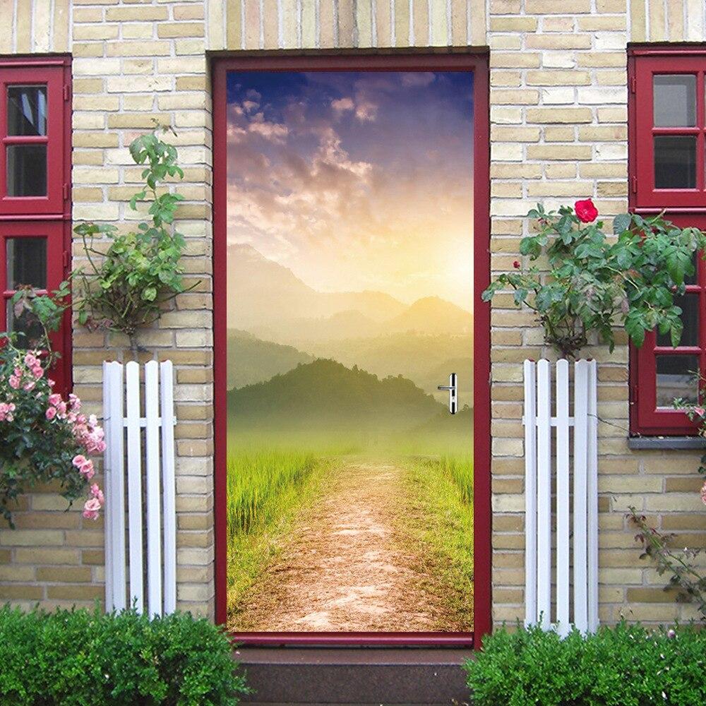 Image 3 - Beautiful Gardern Grass Mountain Green Door Murals Wall Mural Door Decals  Wall Door Stickers Wallpaper Mural DIY Home-in Wall Stickers from Home & Garden