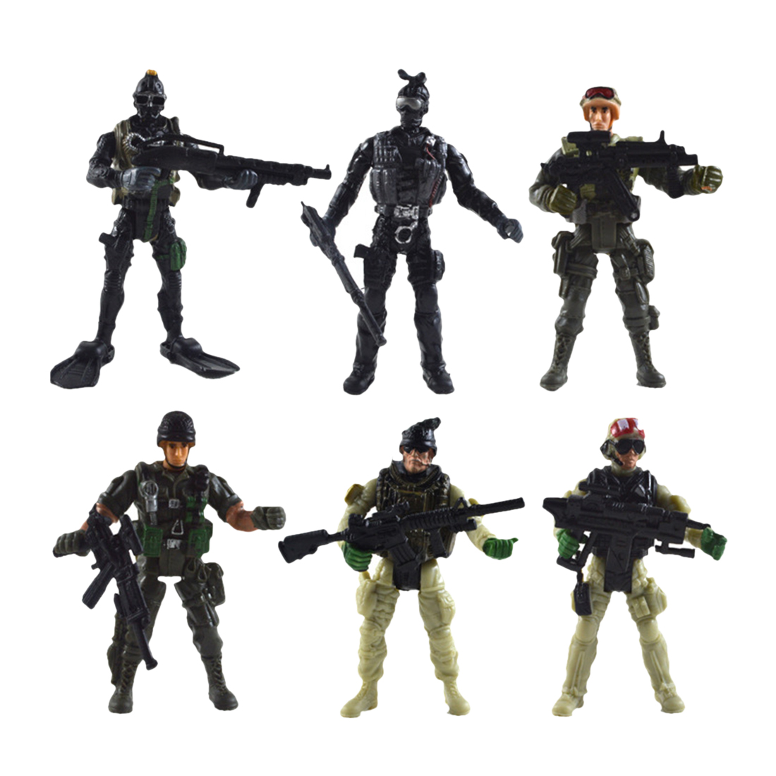 6Pcs Joint Movable US Special Forces Military Model Simulation Soldier Toy With Weapons Lots Miniture Figurines