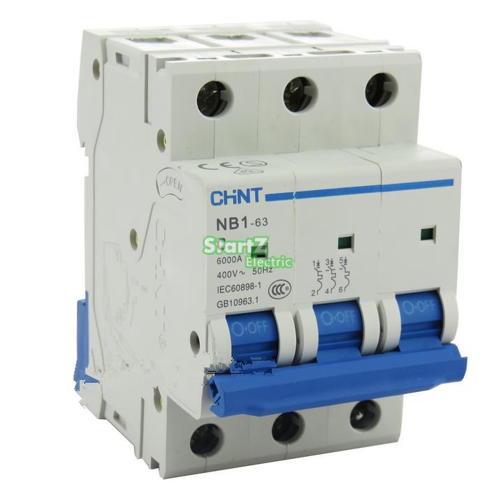 ᗔC Type 3Pole 10Amp 400V 6KA CHNT NB1-63 MCB Circuit breaker - a477