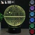 HY Death Star 3D Controle Remoto Luz CONDUZIDA Da Noite candeeiro de Mesa de Toque Desk Lamp 7 Alterar Cor LED USB Carregador Multifunções Presente cartão