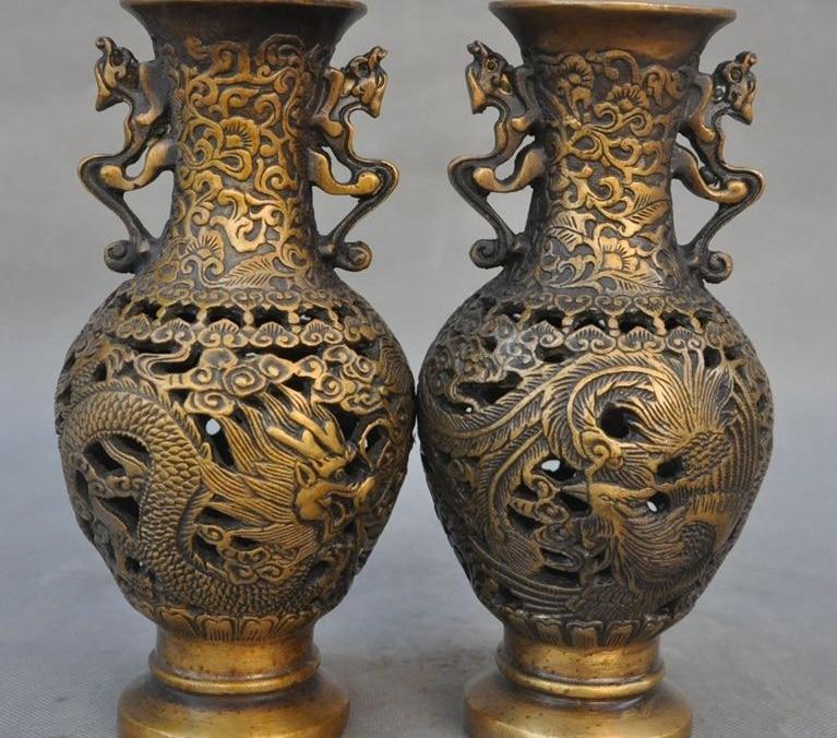 Marked Old Chinese Bronze Dragon Phoenix Lucky Openwork Bottle Jar Pot Vase Pair