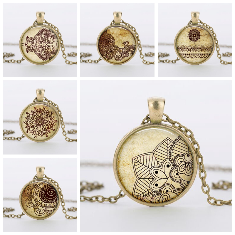 2016 new vintage round glass Henna tattoo flower necklaces pendants and necklaces India Henna mandala necklace women jewelry