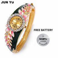 JUNYU FreeShipping 2016 Hot 18K Gold Women Luxury Colorful Abstract Enamel Paint Crystal Rhinestone Leaf Bracelet