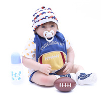 Personalized 48cm floss body lifelike toddler baby boy with lovely baby clothes kids bedtime playmate silicone reborn baby dolls