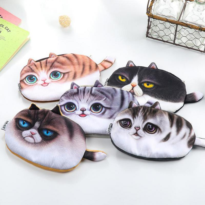 Jonvon Satone 1pcs Cute 3D Cat Pencil Pouch Stationery Bag Kawaii Pencil Bag Large Capacity Students Creative School Supplies