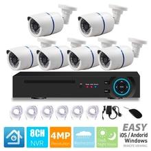 CCTV безопасности 6CH ip-камера c технологией питания POE Система 6 шт. 4MP POE камера 8CH 4MP POE NVR домашний комплект видеонаблюдения P2P наружная Водонепроницаемая камера