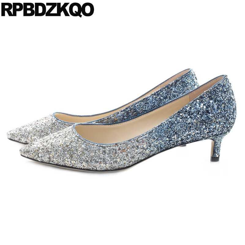 Bling Sequin Size 4 34 Pointed Toe Medium Heels Dress Big Glitter