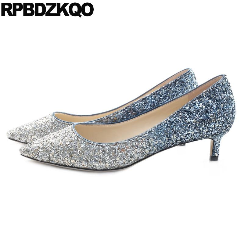 Bling Sequin Size 4 34 Pointed Toe Medium Heels Dress Big Glitter Low Bridal Shoes Blue 33 Pumps Ladies Kitten Wedding Bride aidan mattox new blue shimmer sequin women s size 4 v neck sheath dress $295