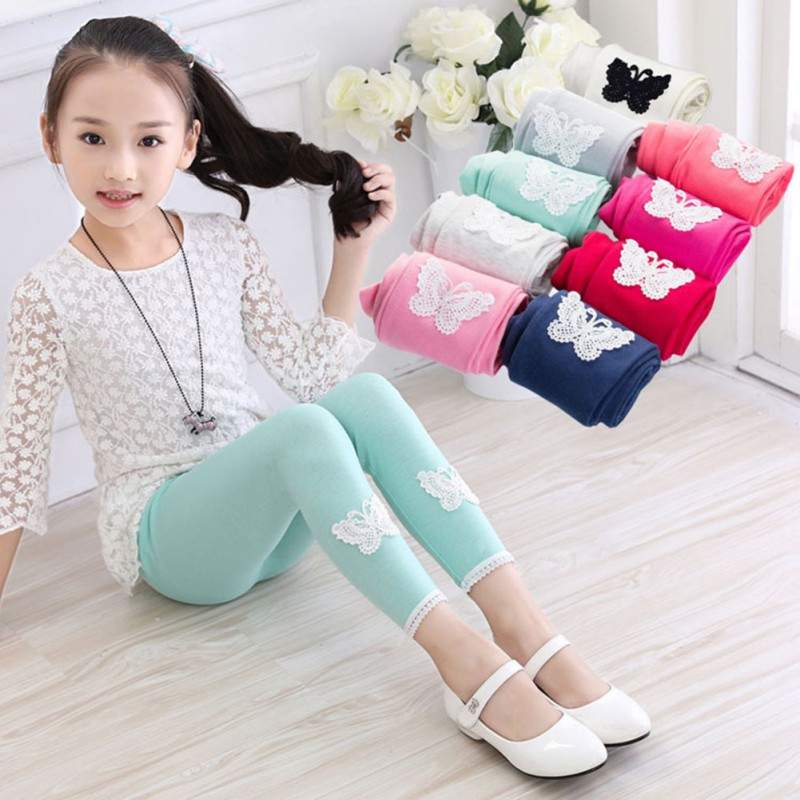 Girls Leggings Children Leggings Spring Autumn 2018 New Warm Comfortable Cotton Soft Lace Butterfly Stretchy Pants Trousers W