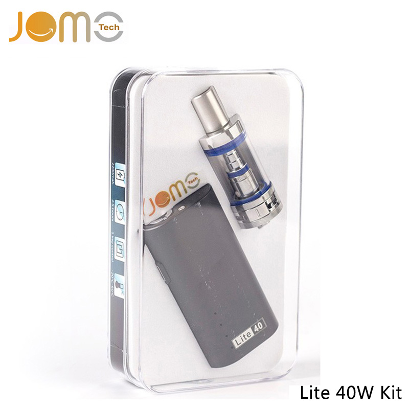 JomoTech Original Electronic Cigarette Kit 2200mAh Ecig Box Mod 0.5ohm Lite 40W Subohm Kit with 4ml Glass Tank+ Charger Jomo-002 original ijoy saber 100 kit with 5 5ml diamond subohm tank 100w saber 20700 battery box mod electronic cigarette