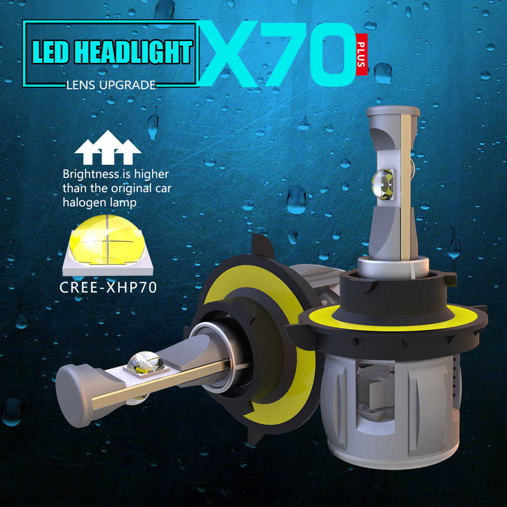2Pcs H4 H13 LED H7 H11 H8 9012 H16 5202 Car Headlight Bulbs LED Lamp with  XHP70 120W 15600LM Auto Fog Lamp Lights 6000K 12V