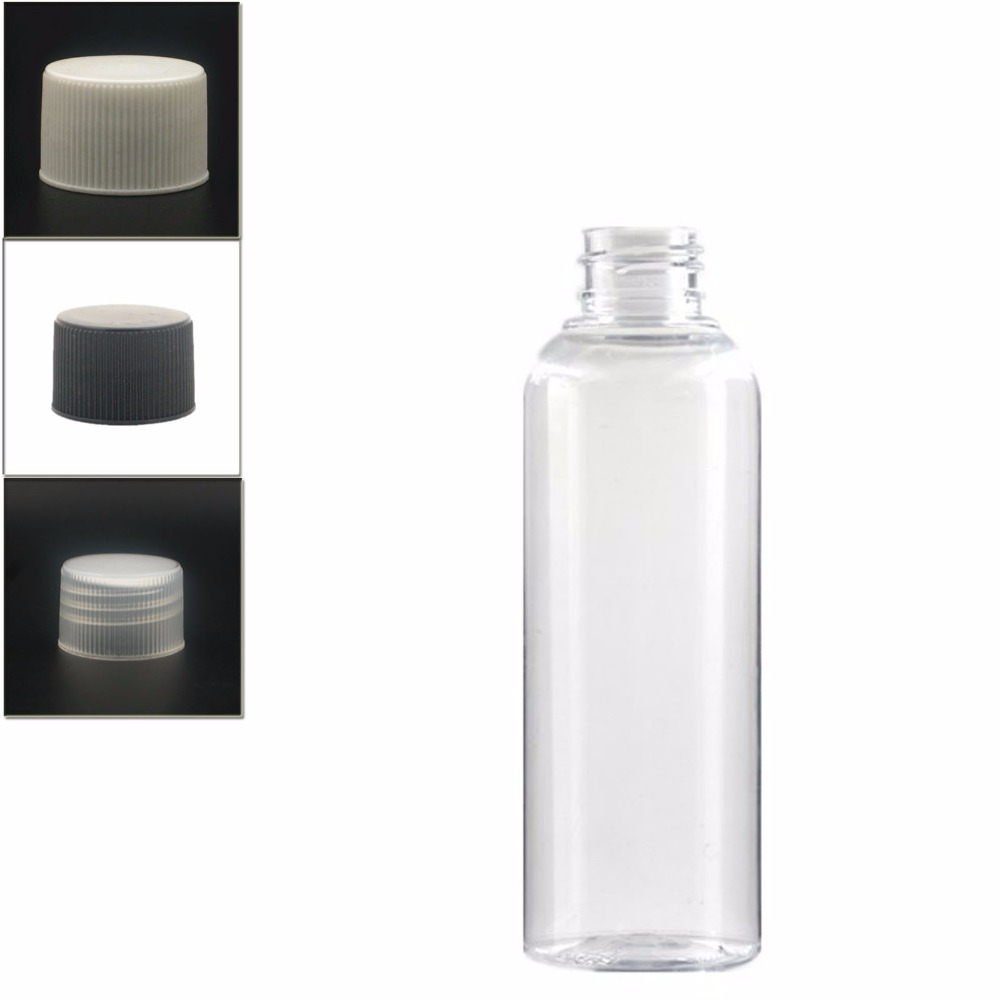 200ml  Plastic Non-Dispensing Cap Bottles, Empty Clear PET Bottle  With Black/wite/transparent Ribbed Screw Cap