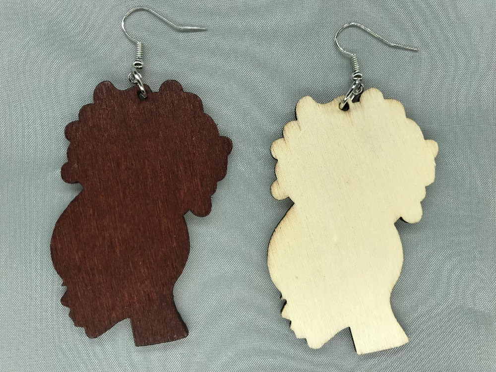 20pair Natural Hair Afro Puff Silhouette Unfinished Wood