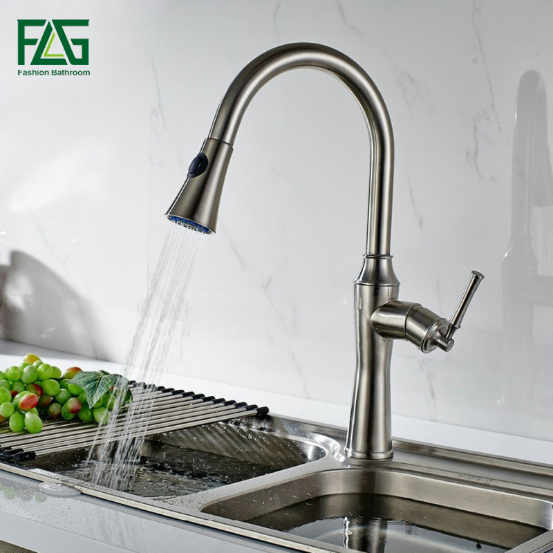FLG Kitchen Faucets Mixer Tap 304 Stainless Steel Hot and Cold Kitchen Sink Tap Pull Out 360 Degree Rotating Water Faucet CS005 durable kitchen faucet pull out deck mounted pull swivel 360 degree rotating cold and hot water tap torneira dourada mixer tap