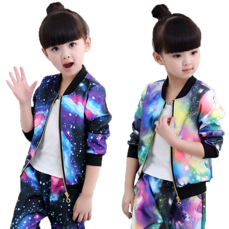 Autumn Girls Clothing Sets Children Zipper Coat And Pant Set Baby Girl Holiday Sports Suit Tracksuit Fashion Kids Clothes Set
