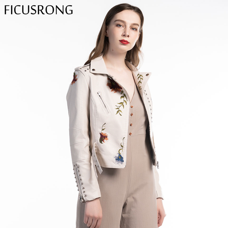 Turn-Down Collar Casual Pu Motorcycle Black Punk Outerwear Women Floral Print Embroidery Faux Soft Leather Jacket Coat FICUSRONG