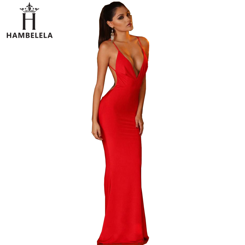 Hambelela Summer Style Elegant Sexy Dress Special Occasion Red Black White Spaghetti Strap Maxi Dresses 2018 New Long Dress