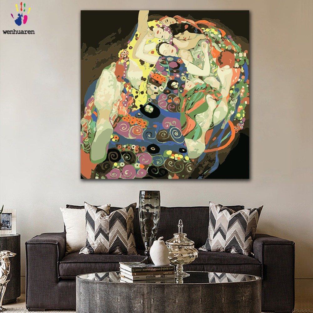 DIY colorings pictures by numbers with colors classic Gustav Klimt virgin picture drawing painting by numbers framed