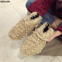 MOLAN Brand Designers 2018 New Fashion Warm Soft Wool Hair Suede Woman Flats Shoes Cross Tie Loafers Peas shoes For Winter 35 39