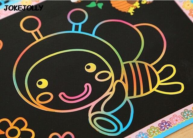10 قطعة حجم صغير وكبير اثنين في واحد اللون السحري خدش ورق فني بطاقات التلوين كشط الرسم لعب للأطفال أطفال GYH