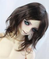 Doll wigs medium length hair brownish black color available for 1/3 BJD SD DD doll wigs very soft hair
