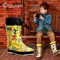 Горячая марка детей резиновые сапоги дождь мода детские непромокаемую обувь натуральный каучук материал обувь для мальчиков T6