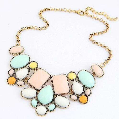 F&U NEW Vintage Necklace collar Resin Crystal Choker Statement Necklaces Chain N