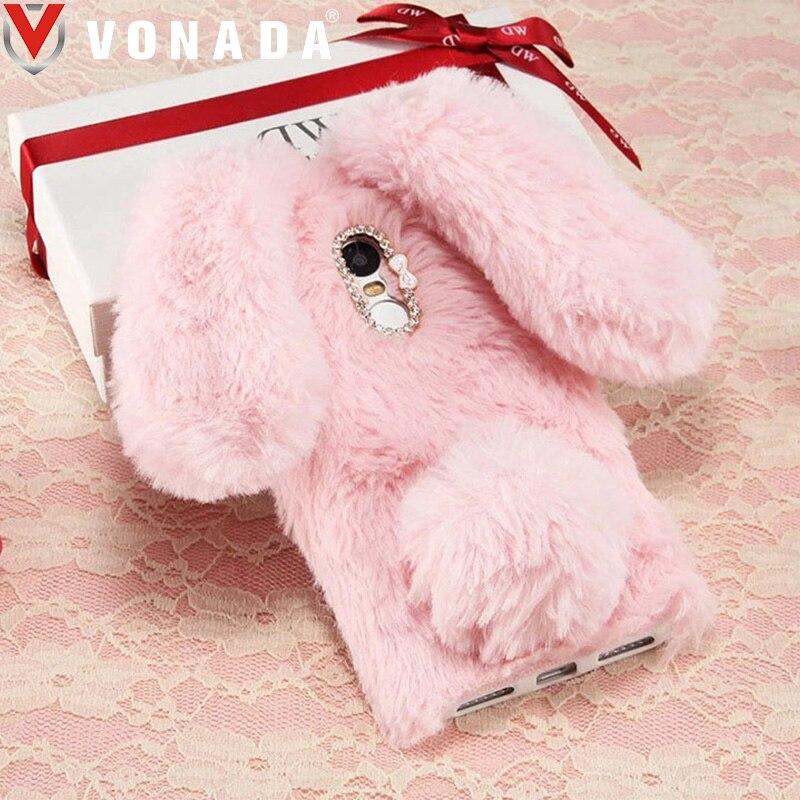 Vonada Plush Bunny Case for Alcatel A7 XL A3 XL A3 Plus One Touch A3 Soft Fur Cute 3D Rabbit Ears TPU Diamond Case Cover