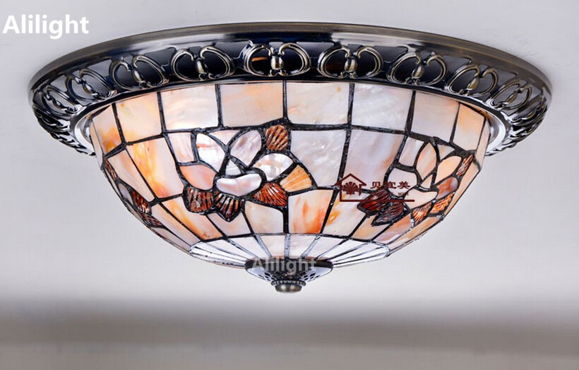 Elegant Tiffany Magnolia Shell Ceiling Light Hall Bedroom Ceiling Lamp Aisle Porch  Indoor Lighting Living Room Home