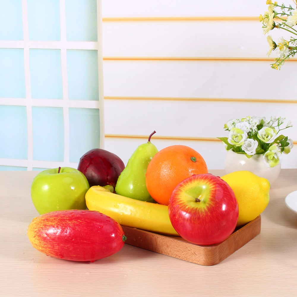 8pcs set plastic fruit kitchen artificial fruit fake food for Decoration fruit