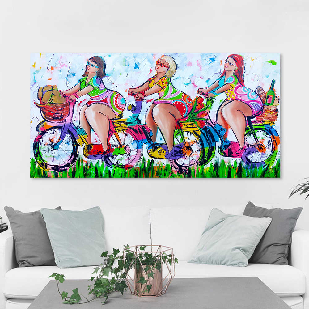 HDARTISAN Vrolijk schilderij Wall Art Picture Canvas Oil Painting Figure Print Girls Tourist For Dining Room Home Decor No Frame