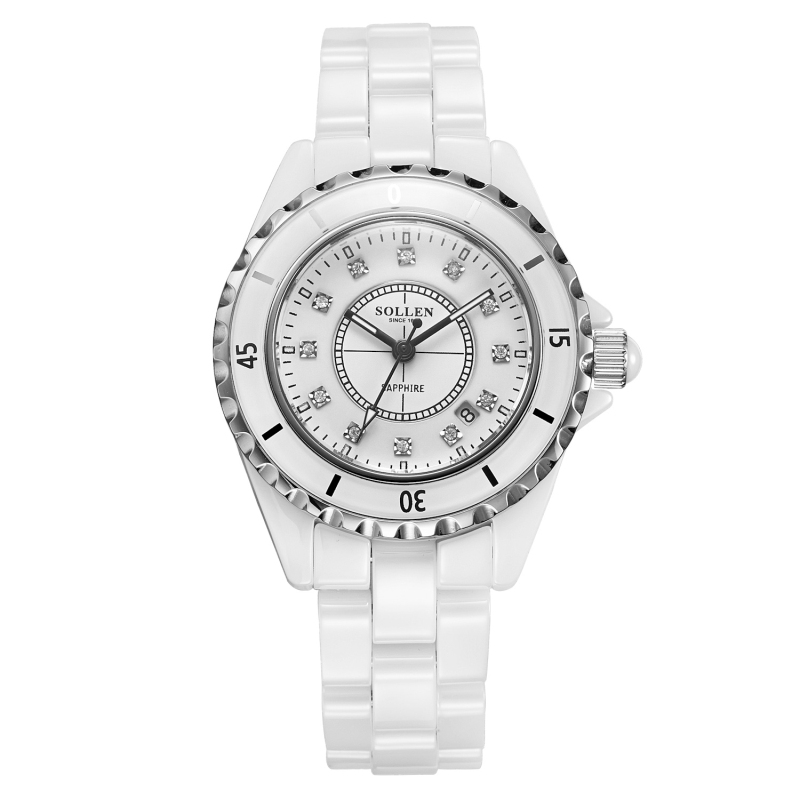 Quartz Watch Women Genuine Sollen Female White Ceramic Watches With Diamonds Korean Version Of  The Top Luxury Gift Lady Watch fundamentals of physics extended 9th edition international student version with wileyplus set