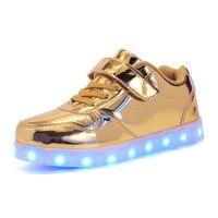 Mirro Vàng Trẻ Em Giày USB Sạc Đầy Màu Sắc Sáng Sneakers Thời Trang Sparkle Kids LED Giày Bé Trai và Bé Cô Gái
