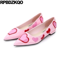 Designer Women Dress Shoes Flats Patent Leather Heart Cute Pink Ladies Unique Kawaii Wedding 2018 Pointed
