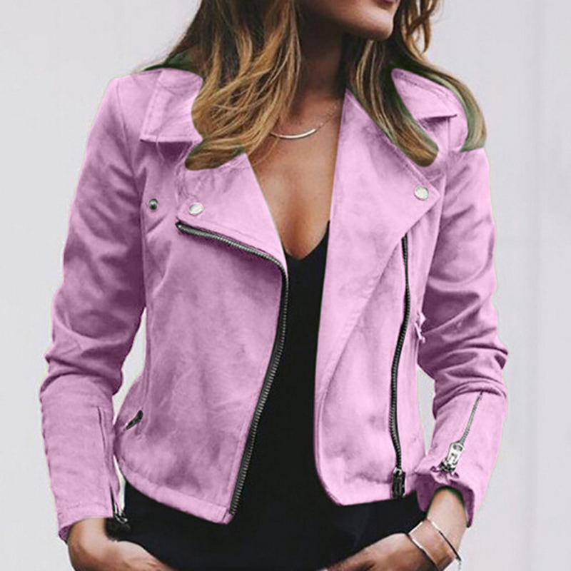 Autumn Outwear Women Fashion Jacket Coats Zip Up Biker Flight Casual Tops Coat Outwear Autumn Turn-down Collar Ladies Slim Fit Jackets 2