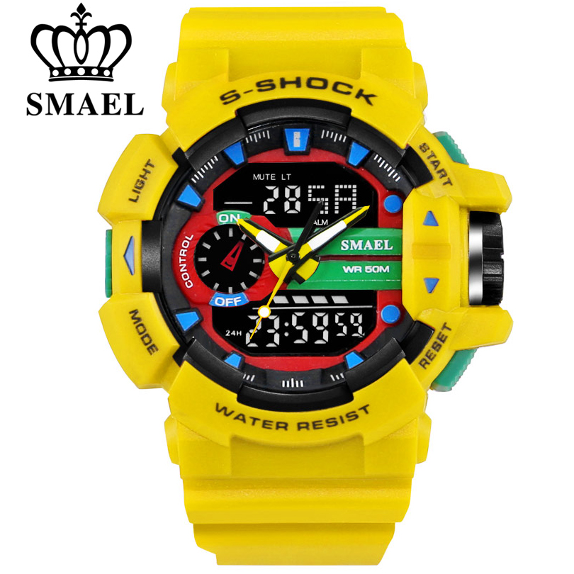 SMAEL 30M Waterproof Men Sports Watch S Shock Military Watches LED Quartz Dual Display Outdoor Men
