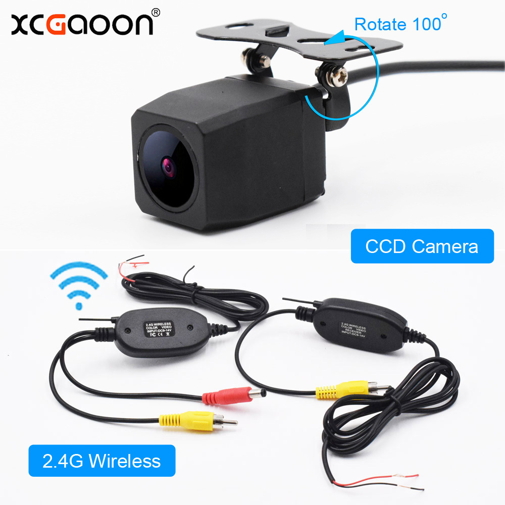 XCGaoon Q1 métal CCD HD Vue Arrière de Voiture Caméra Grand Angle Étanche avec 2.4G Sans Fil Émetteur Récepteur Module adaptateur
