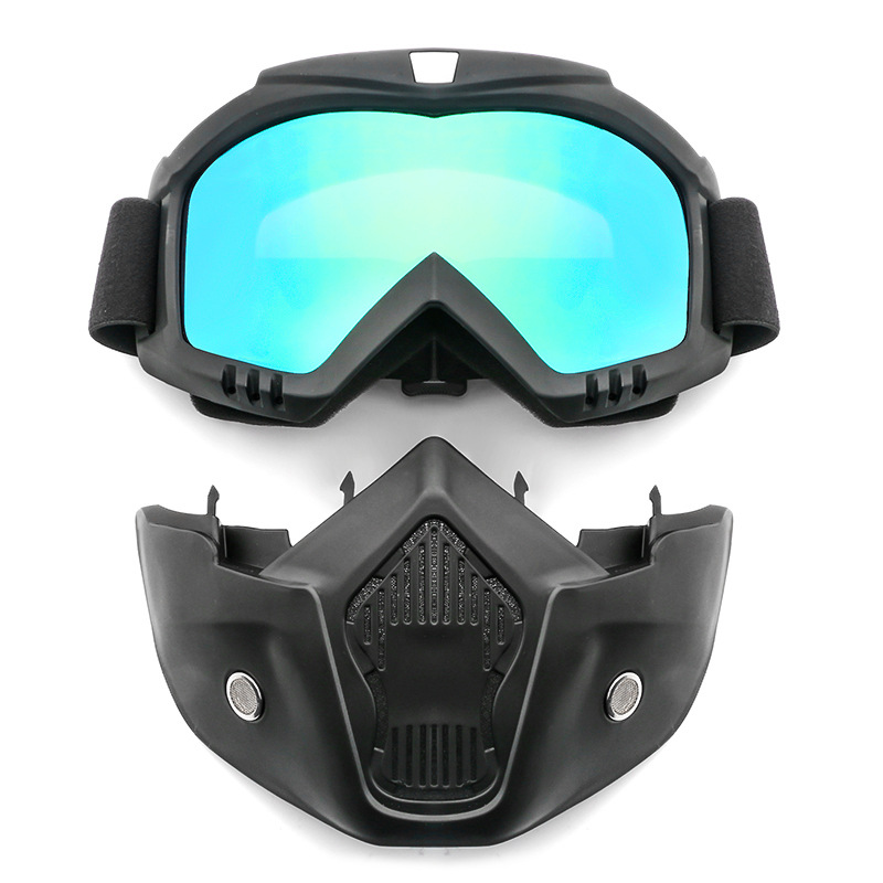Safety Goggles Face Mask Windproof Dustproof UV-protection Eyewear Mask Removable Bicycle Motorcycle Tactical Goggles Masks goggles full face masks neck mesh protective outdoors cs war game airsoft paintball field sport equipment tactical masks