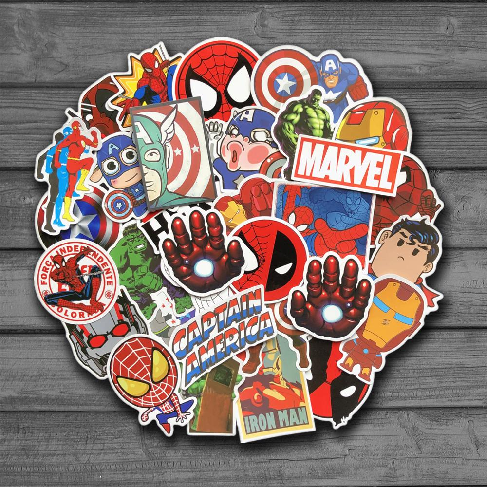 50Pcs Marvel Cartoon Sticker Waterproof For Laptop Moto Skateboard Luggage Guitar Furnitur Decal Toy Stickers carmine