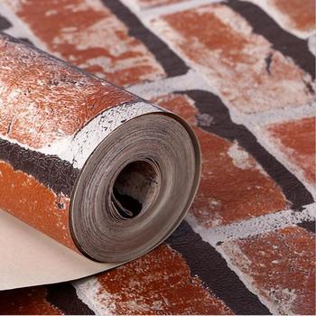 3D Stones Bricks Pattern Wallpaper Living Room Cafe Bar Decor Waterproof Decor Wallpaper /Gray Red Bricks Home improvement 6