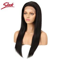 Sleek Бразильский 4x4 Синтетические волосы на кружеве человеческих волос парики Реми прямые волосы парик для черный Для женщин 14 18 22 26 дюймов