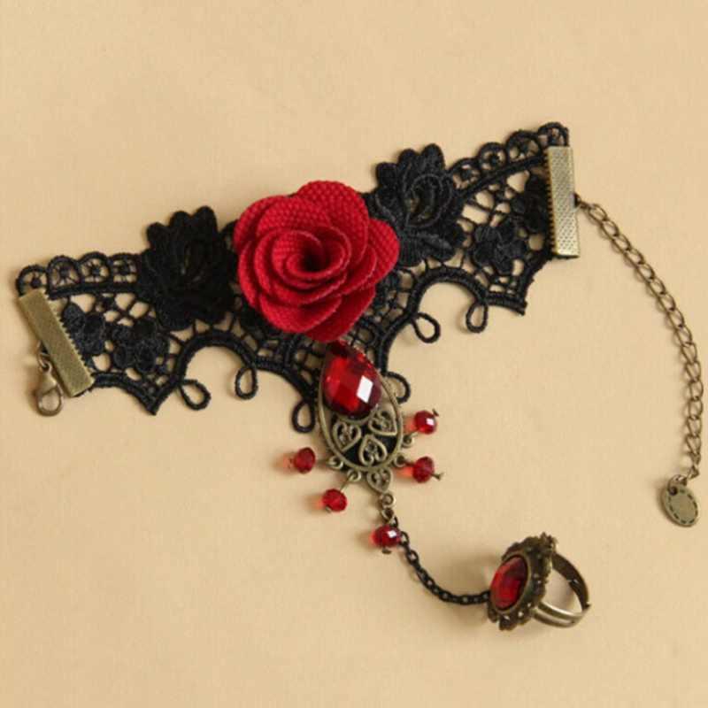 Elegant Gothic Style Lace Red Rose Bracelet Jewellery  Bride Weeding Beads Jewelry